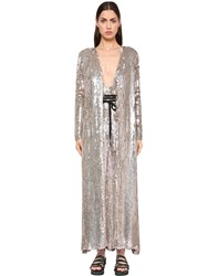 Temperley London Sequined Viscose Coat Silver