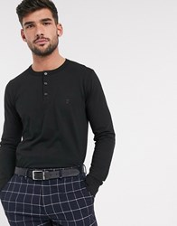 French Connection Essentials Grandad Long Sleeve Top Black