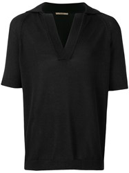 Nuur V Neck Polo Shirt Black