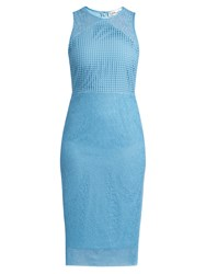Diane Von Furstenberg Twig And Circle Lace Sleeveless Midi Dress Light Blue