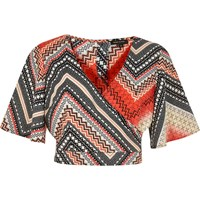 River Island Womens Orange Aztec Print Wrap Crop Top