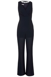 V Neck Flared Jumpsuit By Wal G Navy Blue