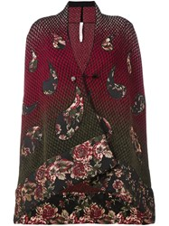 Antonio Marras 'Asymmetrical Knitted Floral' Cardigan Red