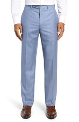 Santorelli Flat Front Sharkskin Wool Trousers Light Blue