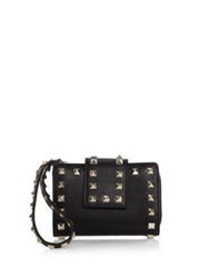 Valentino Studded Leather Wristlet Wallet Black