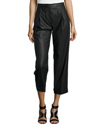 Philosophy Di Alberta Ferretti Faux Leather Cropped Straight Leg Pants Black