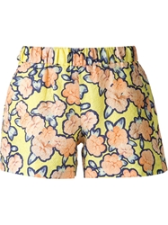 Viktor And Rolf Flower Print Jacquard Shorts Yellow And Orange