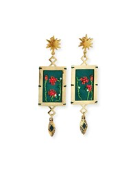 Lulu Frost Villa Hand Embroidered Dangle Earrings Gold