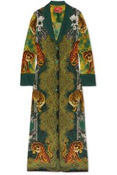 F.R.S For Restless Sleepers Nottie Printed Silk Twill Maxi Dress Green