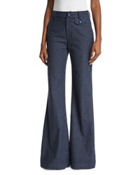 See By Chloe Chambray Flare Trousers Indigo