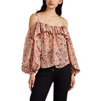 Ulla Johnson Coline Floral Silk Cold Shoulder Blouse Pink