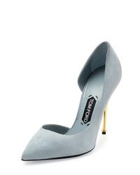 Tom Ford Suede Half D'orsay Pump Cloud Blue