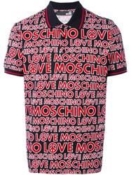 Love Moschino Allover Logo Polo Shirt Red