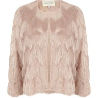 River Island Womens Light Pink Fringed Cropped Jacket