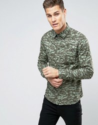 Blend Of America Regular Fit Camo Print Shirt 70595 Dusty Green