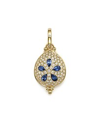Temple St. Clair 18K Gold Sea Biscuit Pendant With Sapphire And Pave Diamonds Blue Gold