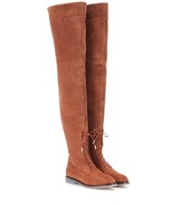 Aquazzura Arizona Suede Over The Knee Boots Brown