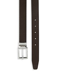 Saks Fifth Avenue Reversible Twist Buckle Leather Belt Black Brown