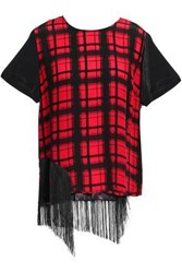 Preen Line Woman Suzy Fringe Trimmed Paneled Checked Crepe De Chine T Shirt Red