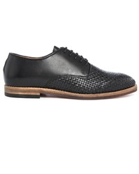 Hudson Black Leather Weave Derbies