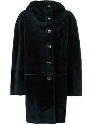 Sylvie Schimmel Hooded Lamb Fur Coat Blue