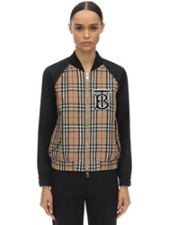 Burberry Quilted Check Nylon Bomber Jacket Black Check