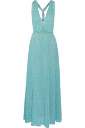 Missoni Metallic Crochet Knit Maxi Dress Turquoise