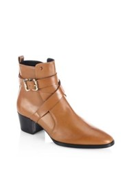 Tod's Wraparound Leather Booties Light Brown