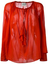 Forte Forte Drawstring Neck Sheer Blouse Red