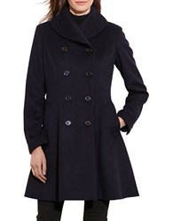 Lauren Ralph Lauren Wool Fit And Flare Coat Regal Navy Blue