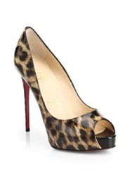 Christian Louboutin New Very Prive Leopard Print Patent Leather Peep Toe Pumps
