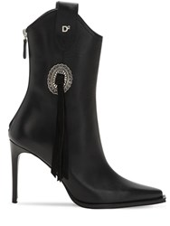 Dsquared 90Mm Rodeo Leather Ankle Boots Black