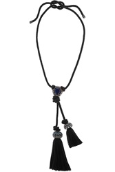 Lanvin Braided Oxidized Gold Tone Crystal Necklace