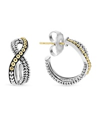 Lagos Sterling Silver Hoop Earrings With 18K Gold Caviar Beading Silver Gold