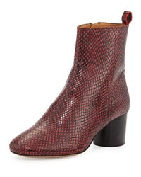 Isabel Marant Deyissa Python Embossed Boot Red