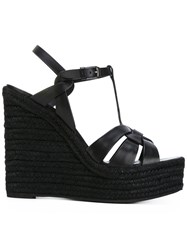 Saint Laurent Espadrille Wedge Sandals Women Raffia Calf Leather Leather Rubber 38 Black