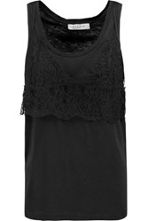 Sandro Truelove Cotton Blend Jersey And Lace Tank Black