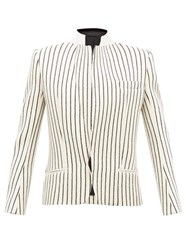 Haider Ackermann Velvet Collar Striped Jacquard Wool Blazer Cream Multi