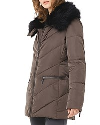 Phase Eight Calandra Faux Fur Collar Quilted Coat Mink