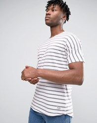 Only And Sons Crew Neck Striped T Shirt Red