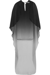 Halston Ombre Crinkled Chiffon Mini Dress