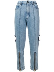House Of Holland Cutout Utility Jeans Blue
