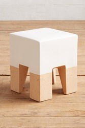 Anthropologie Glaze Dipped Side Table White