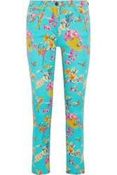 Etro Woman Printed Mid Rise Skinny Jeans Turquoise