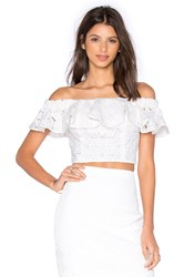 Rebecca Taylor Off The Shoulder Diamond Lace Top White