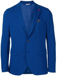 Manuel Ritz Classic Slim Fit Blazer Blue