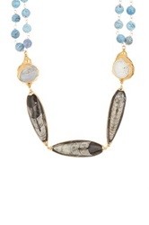 Janna Conner Courtney Agate And Orthocerras Fossil Necklace No Color