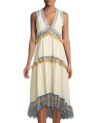 Leon Max Embroidered Ruffle Tiered Gauze Dress Cream