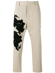 Ports 1961 Floral Patch Tapered Trousers Men Cotton Linen Flax Viscose Glass 46 Nude Neutrals