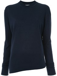 Studio Nicholson Long Sleeve Fitted Sweater Blue